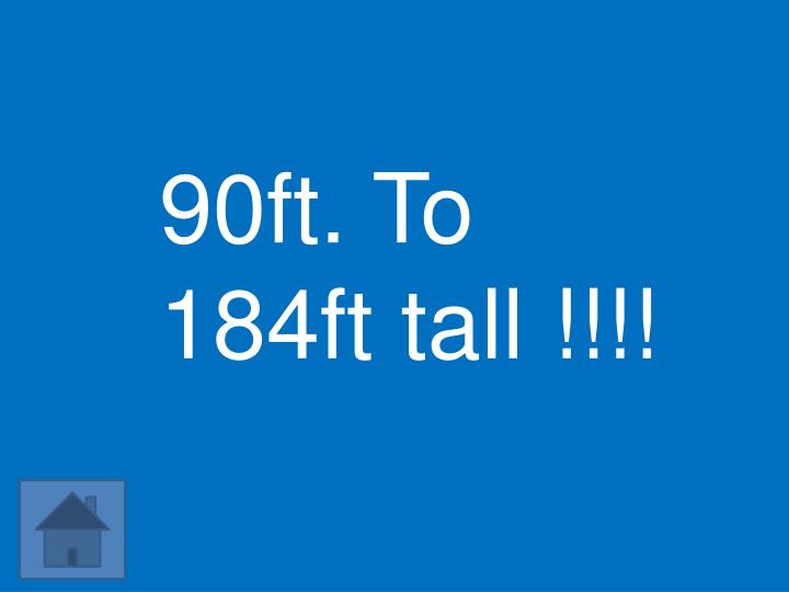 90ft. To 184ft tall !!!!