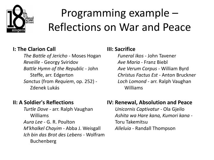 Programming example – Reflections on War and Peace