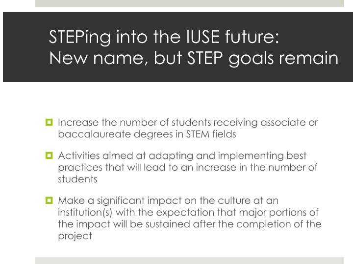 Steping into the iuse future new name but step goals remain