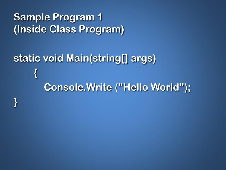 Sample Program 1