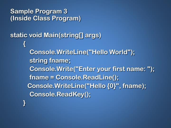 Sample Program 3