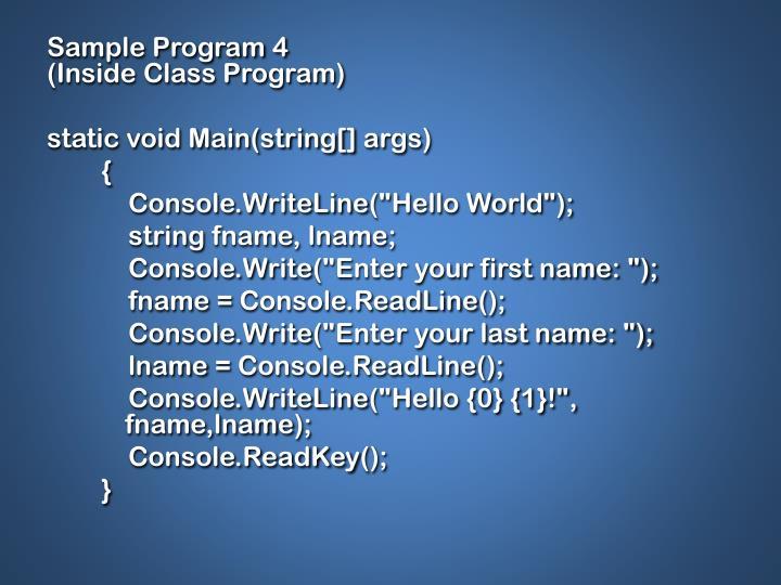 Sample Program 4