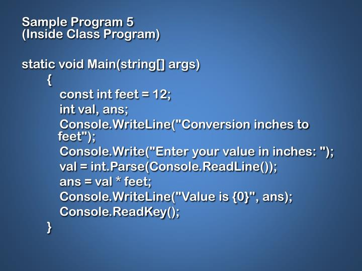 Sample Program 5