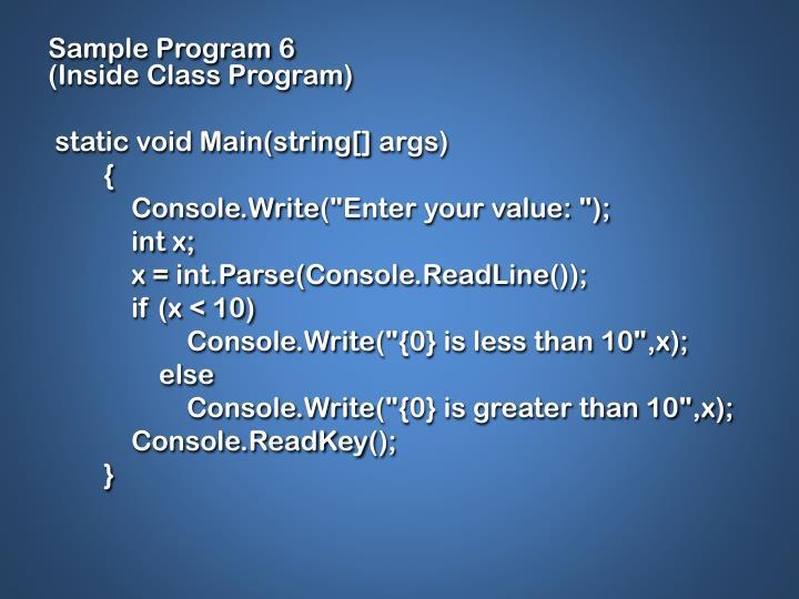 Sample Program 6