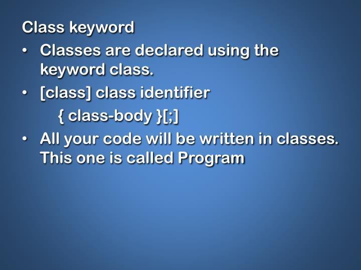 Class keyword
