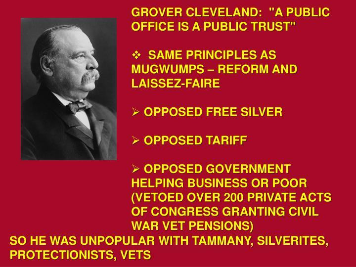 """GROVER CLEVELAND:  """"A PUBLIC OFFICE IS A PUBLIC TRUST"""""""