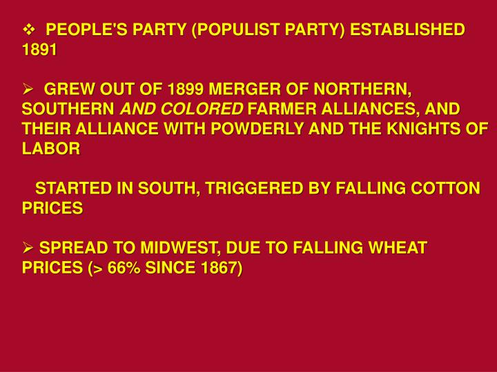 PEOPLE'S PARTY (POPULIST PARTY) ESTABLISHED 1891