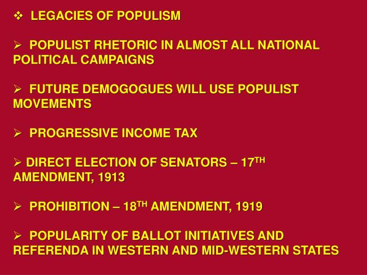 LEGACIES OF POPULISM