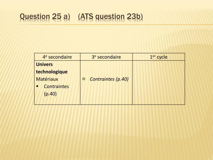 Question 25 a)    (ATS question 23b)