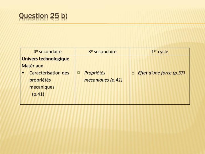 Question 25 b)