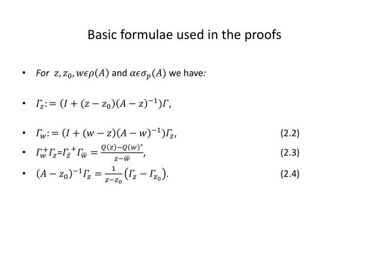 Basic formulae used in the proofs