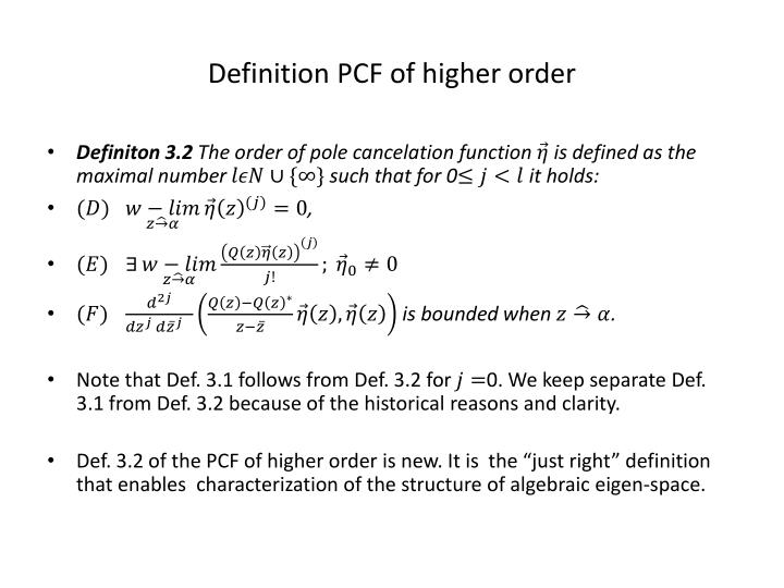 Definition PCF of higher order
