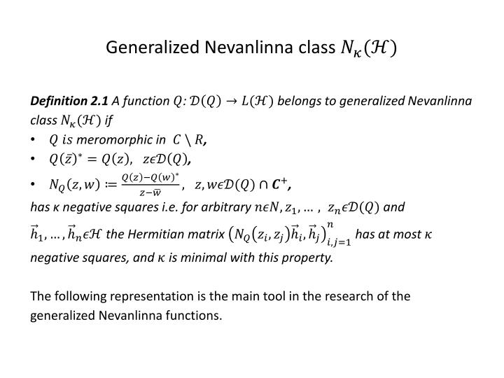 Generalized nevanlinna class