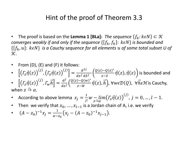 Hint of the proof of Theorem 3.3