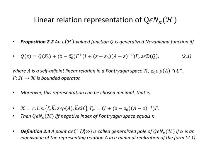 Linear relation representation of