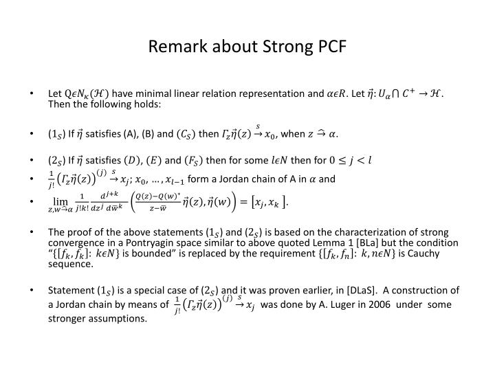 Remark about Strong PCF