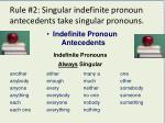 rule 2 singular indefinite pronoun antecedents take singular pronouns