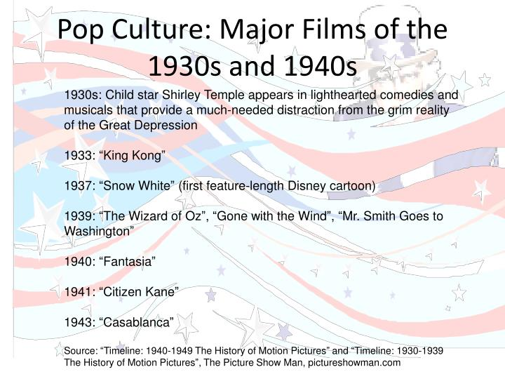 Pop Culture: Major Films of the 1930s and 1940s