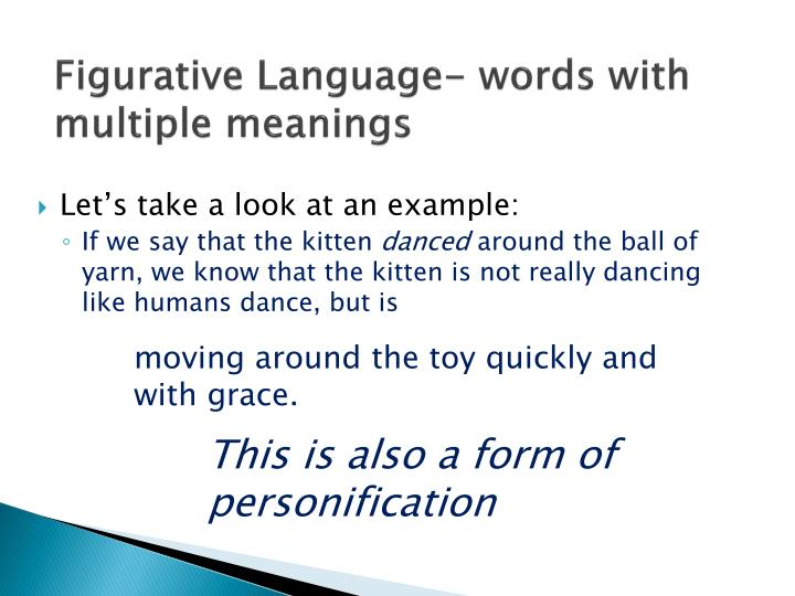 Figurative Language- words with multiple meanings