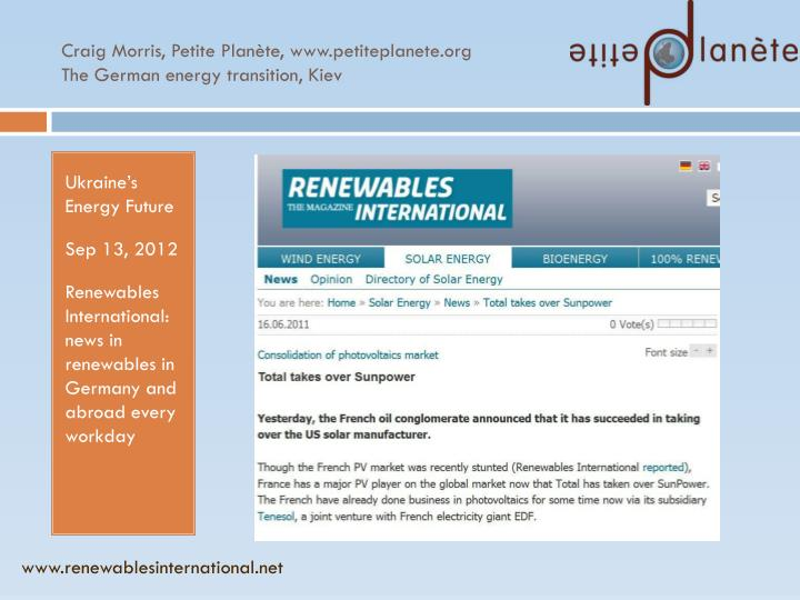 Craig morris petite plan te www petiteplanete org the german energy transition kiev
