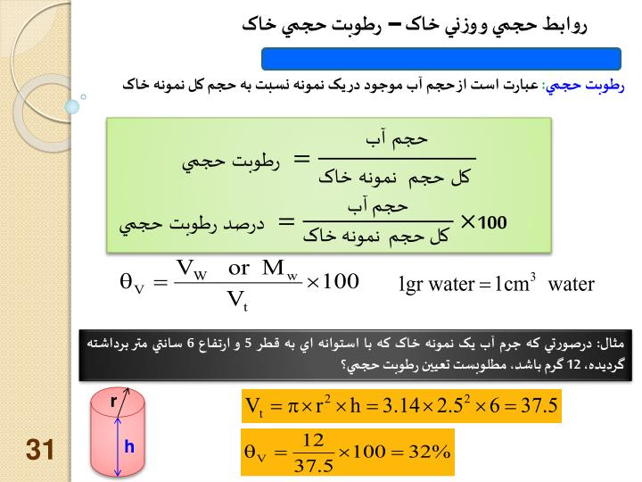 روابط حجمي و وزني خاک – رطوبت حجمي خاک