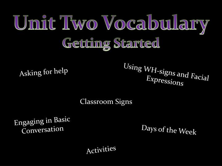 Unit Two Vocabulary