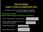 physical fields inside a schwarzschild black hole