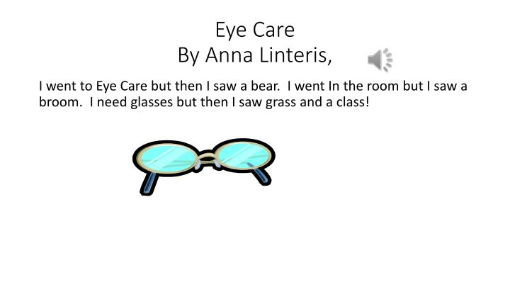 Eye care by anna linteris