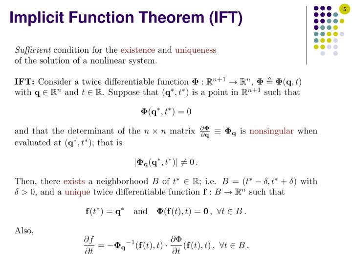 Implicit Function Theorem (IFT)