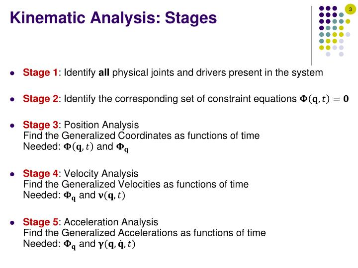 Kinematic analysis stages
