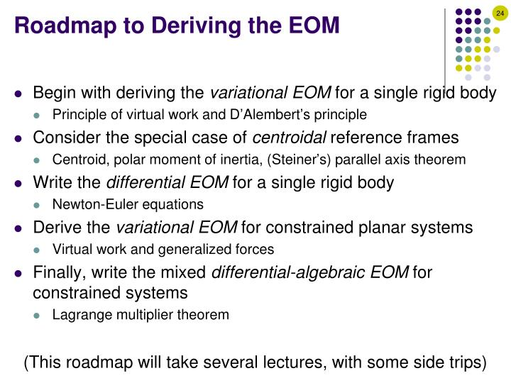 Roadmap to Deriving the EOM