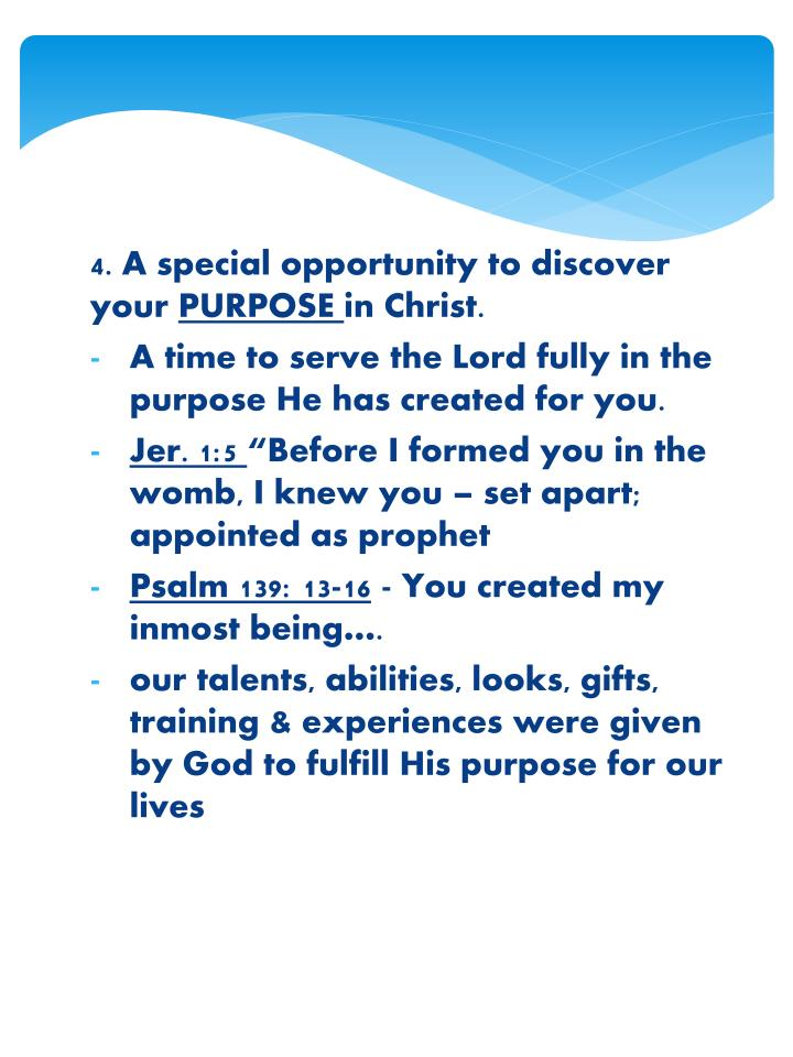 4. A special opportunity to discover your