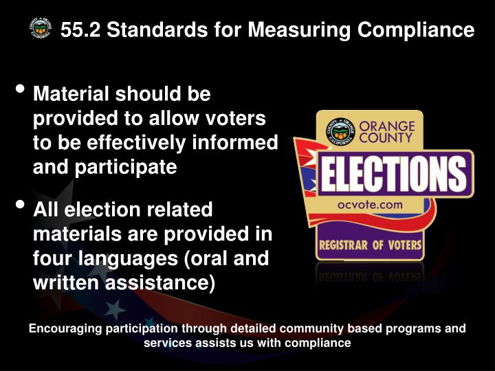 55.2 Standards for Measuring Compliance
