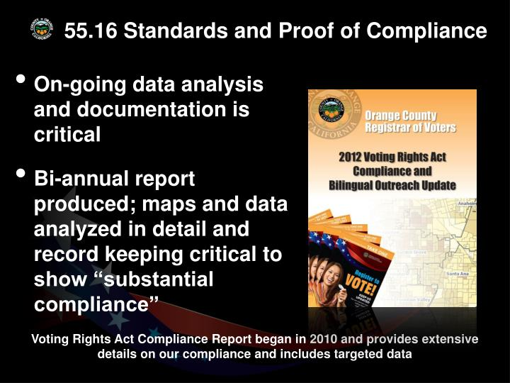 55.16 Standards and Proof of Compliance