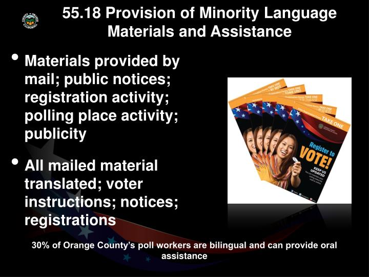 55.18 Provision of Minority Language Materials and Assistance