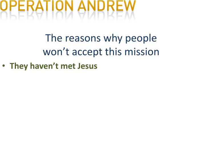 The reasons why people