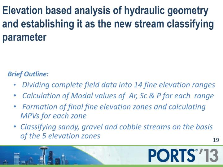 Elevation based analysis of hydraulic geometry and establishing it as the new stream classifying