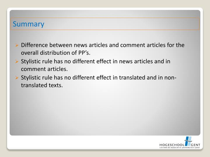 Difference between news articles and comment articles for the overall distribution of PP's.