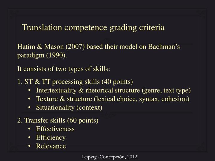 Translation competence grading criteria
