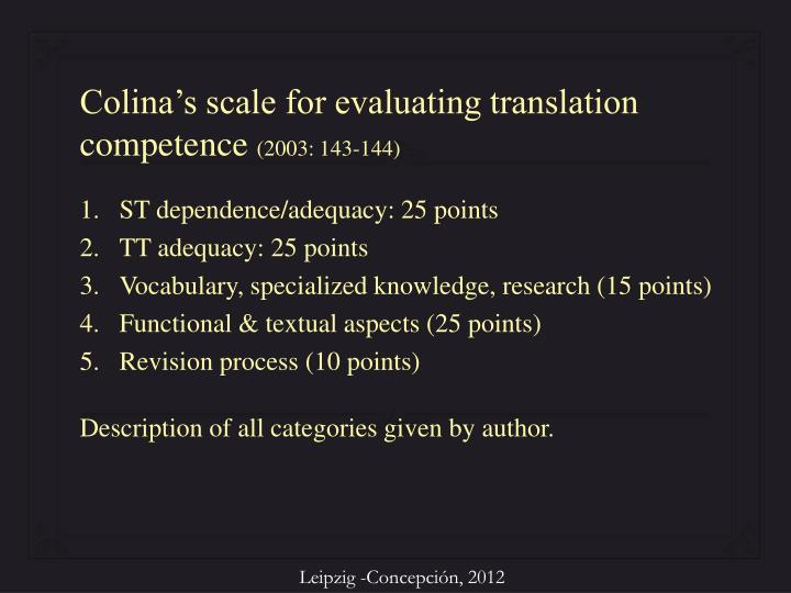 Colina's scale for evaluating translation competence
