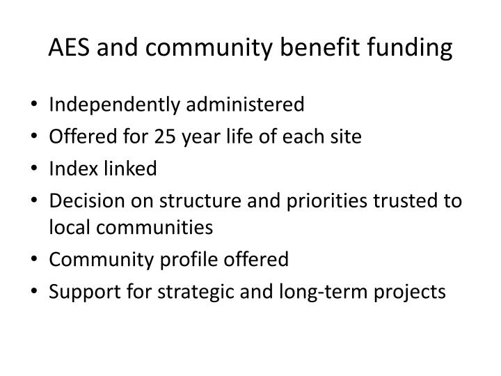 Aes and community benefit funding