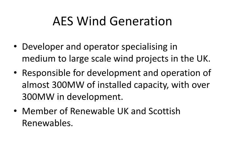 Aes wind generation