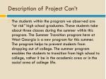 description of project con t