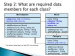 step 2 what are required data members for each class
