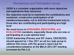 membership and participation issues