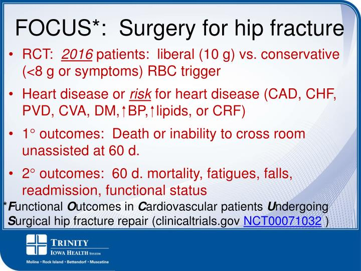 FOCUS*:  Surgery for hip fracture