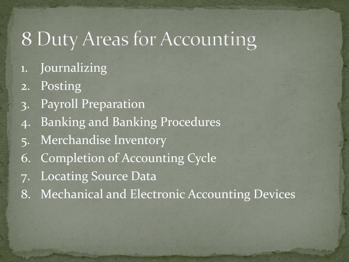 8 Duty Areas for Accounting