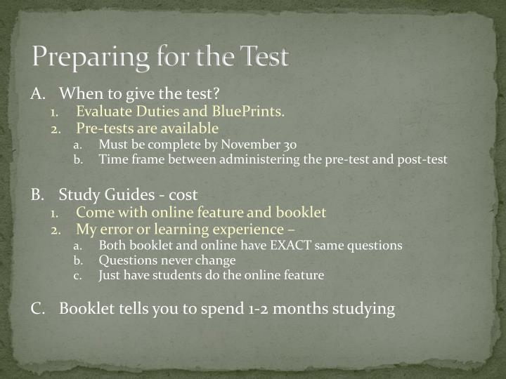 Preparing for the Test