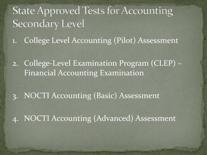 State approved tests for accounting secondary level