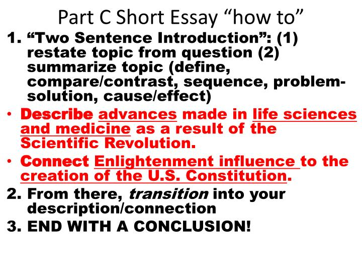 "Part C Short Essay ""how to"""